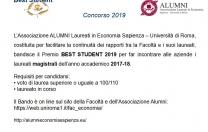 AVVISO BANDO PREMIO BEST STUDENT 2019